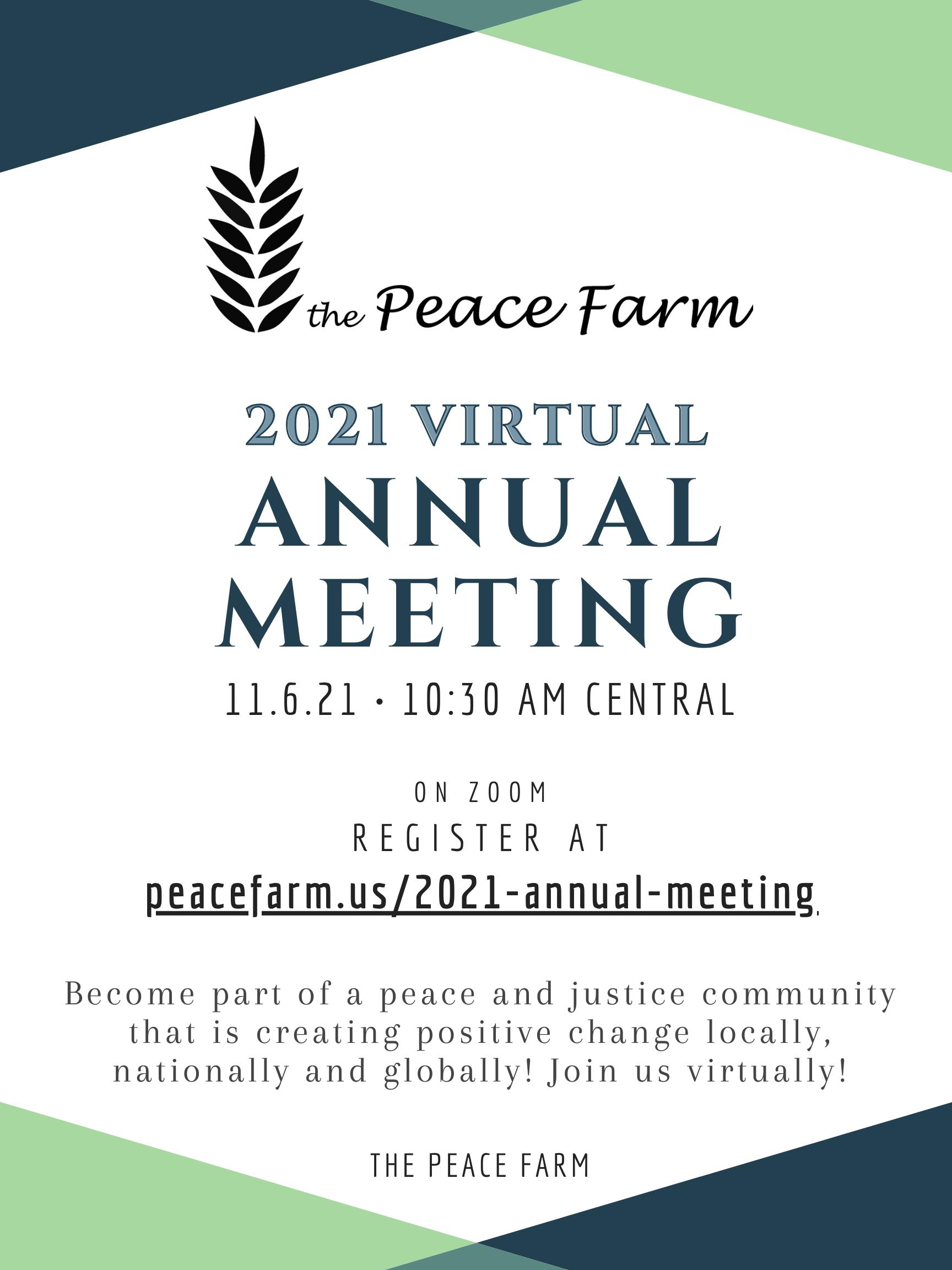 2021 Peace Farm Annual Meeting